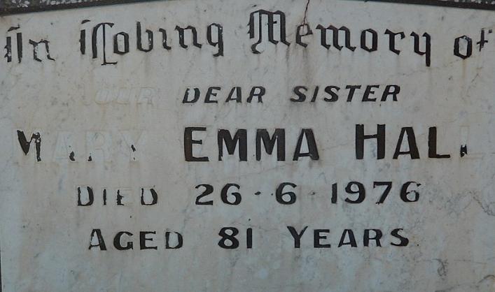 Grave of Mary Emma Hall