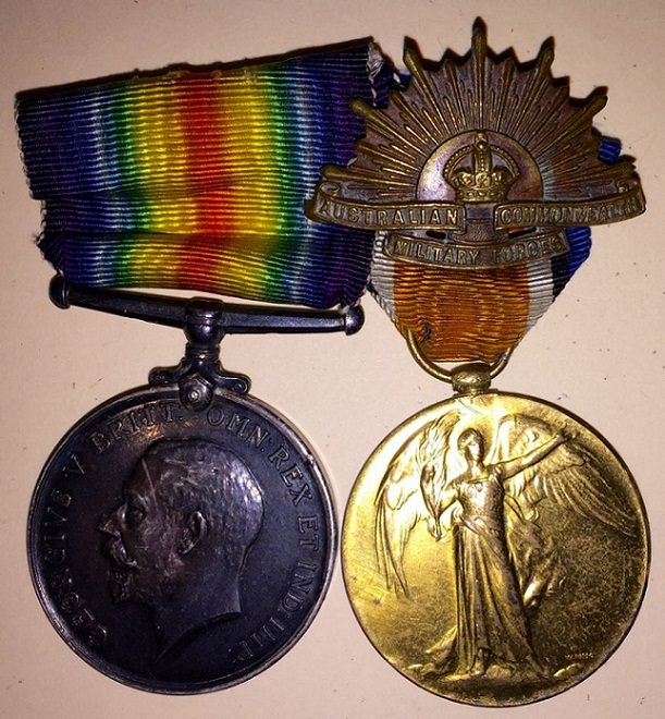 War Medal, Victory Medal and Rising Sun to James Parker