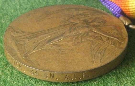 Victory Medal 41449 to LCPL J PANWICK 34BN AIF