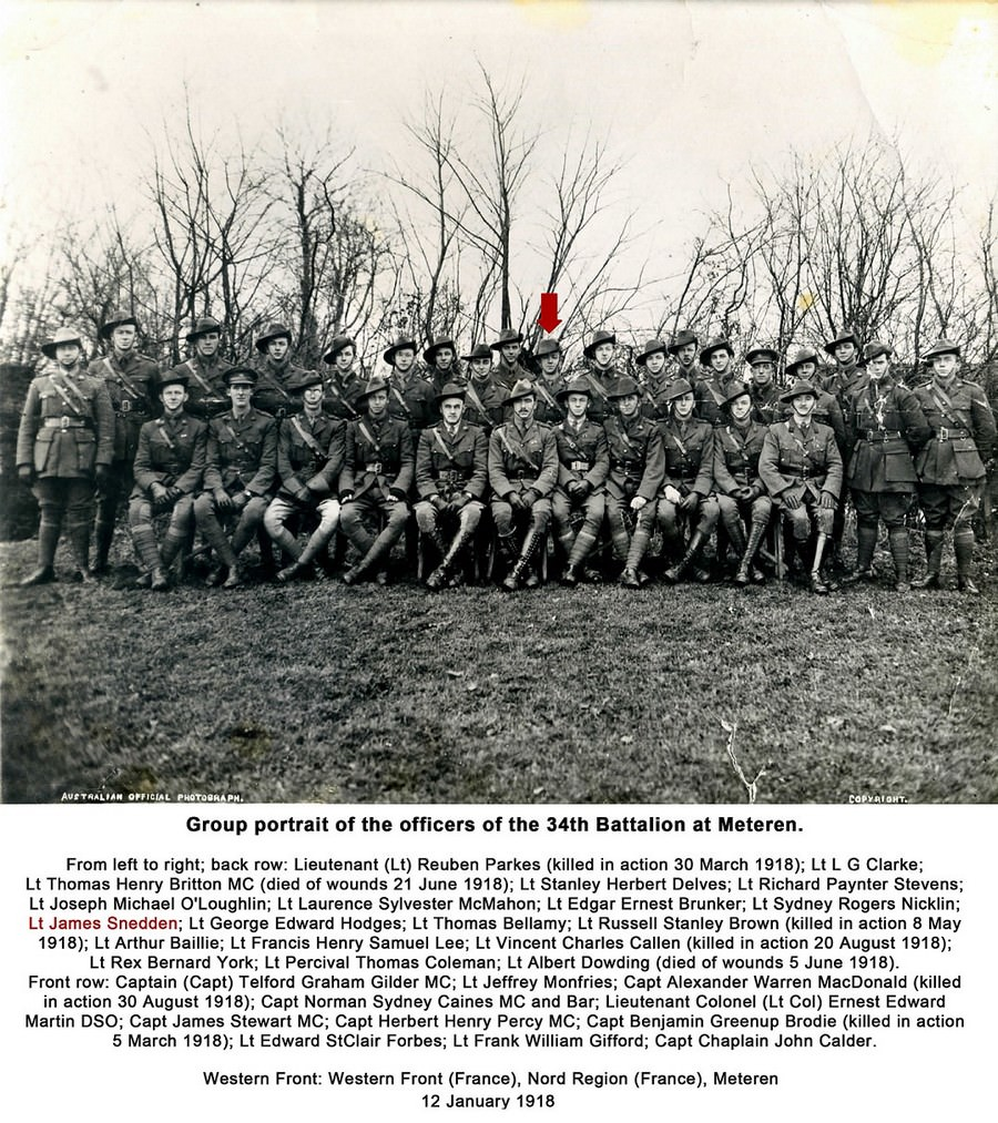 Officers of the 34th Battalion 1918